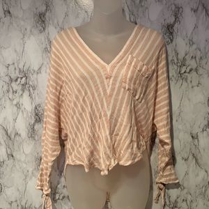 Free People Striped V Neck Slouch Top Cream